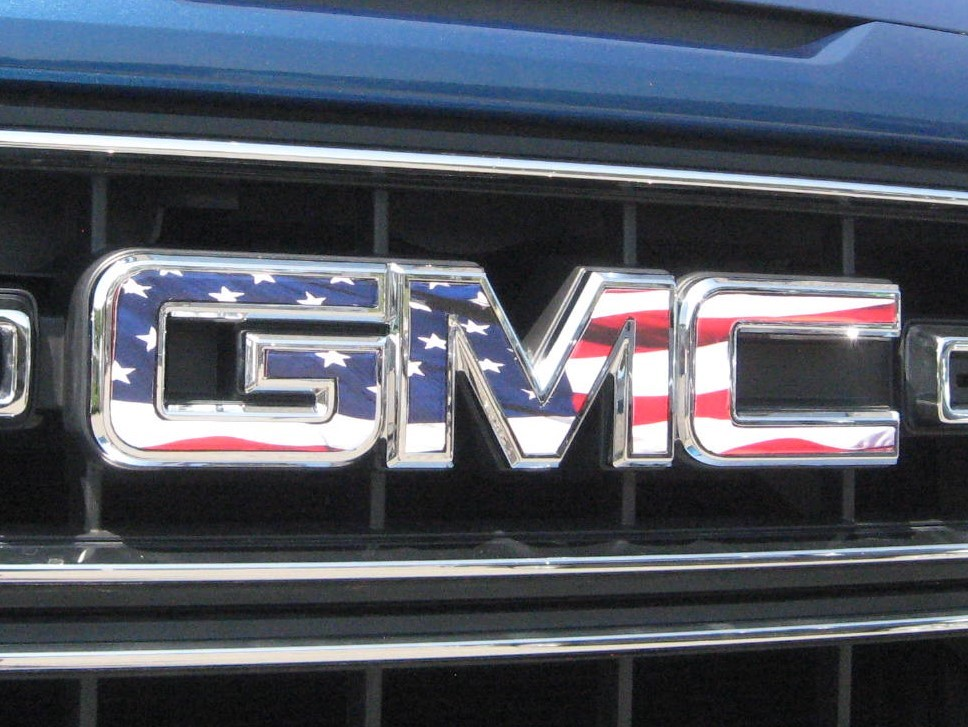 GMC American flag grill overlay